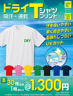 アクティブなシーンでの使用で活躍する吸汗・速乾で型崩れしにくいドライTシャツです。豊富なサイズとカラーでオリジナルのドライTシャツが作成できます。